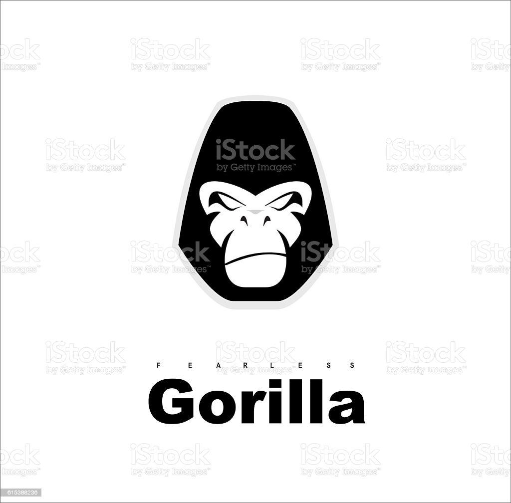 Gorilla.Gorilla face. Gorilla head. Gorilla logo. Simple flat of gorilla head. - Illustration vectorielle