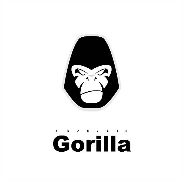Gorilla.Gorilla face. Gorilla head. Gorilla logo. Simple flat of gorilla head. ベクターアートイラスト