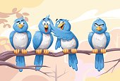 Illustration of four blue birds sitting on a branch. One of the birds is mocked and made fun of by the others. Concept for bullying and intolerance.
