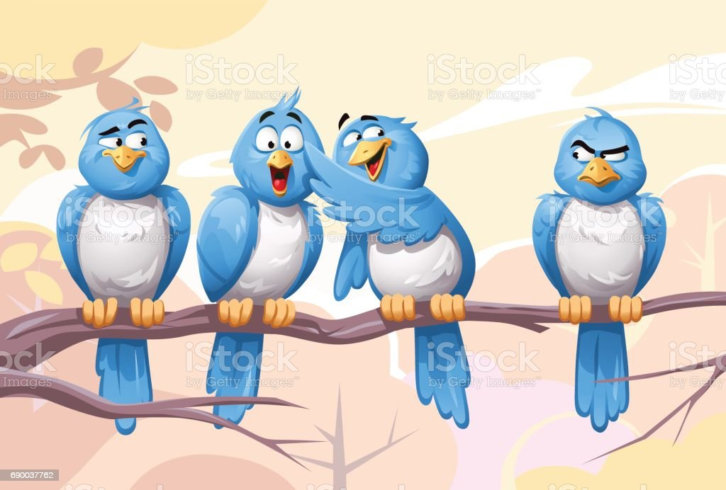 Gossip Birds vector art illustration