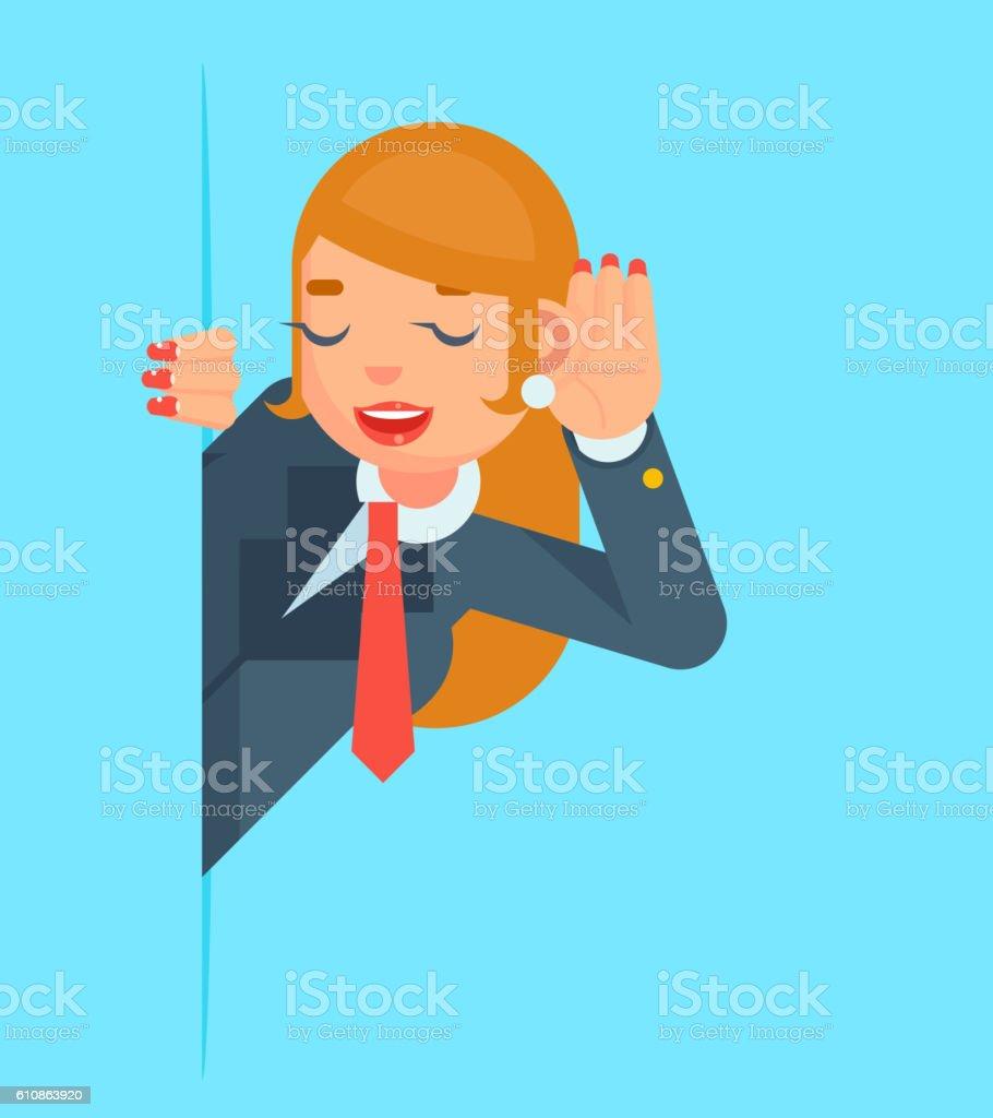 Gossip Girl Listen Overhear Spy Out Corner Cartoon Businessman Character vector art illustration