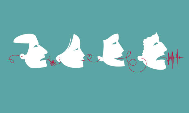 illustrazioni stock, clip art, cartoni animati e icone di tendenza di gossiping people: people spread rumors - ear talking