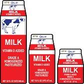 3 sizes of milk cartons in Vector Format