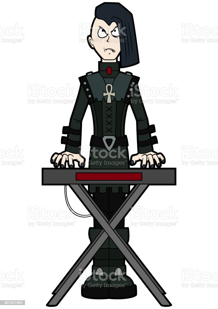 Goth man keyboardist playing on synthesizer vector art illustration