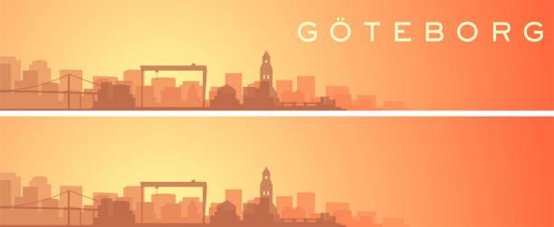 bildbanksillustrationer, clip art samt tecknat material och ikoner med göteborg vackra skyline scenery banner - gothenburg