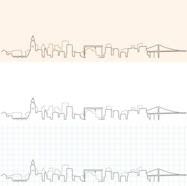 bildbanksillustrationer, clip art samt tecknat material och ikoner med göteborg handritad skyline - gothenburg