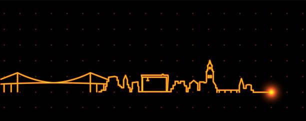 bildbanksillustrationer, clip art samt tecknat material och ikoner med göteborg ljus strimma skyline - gothenburg
