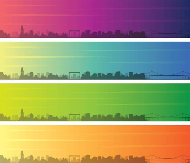 bildbanksillustrationer, clip art samt tecknat material och ikoner med göteborg flera färg toning skyline banner - gothenburg