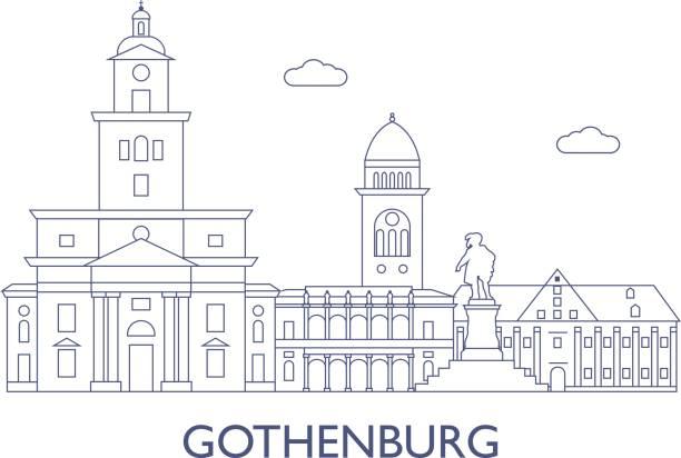bildbanksillustrationer, clip art samt tecknat material och ikoner med göteborg. de mest kända byggnaderna i staden - gothenburg