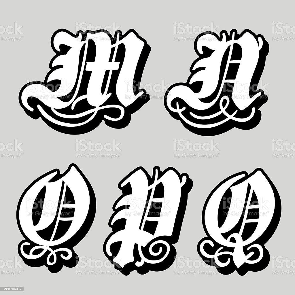 Gothic Alphabet Letters M N O P Q Royalty Free