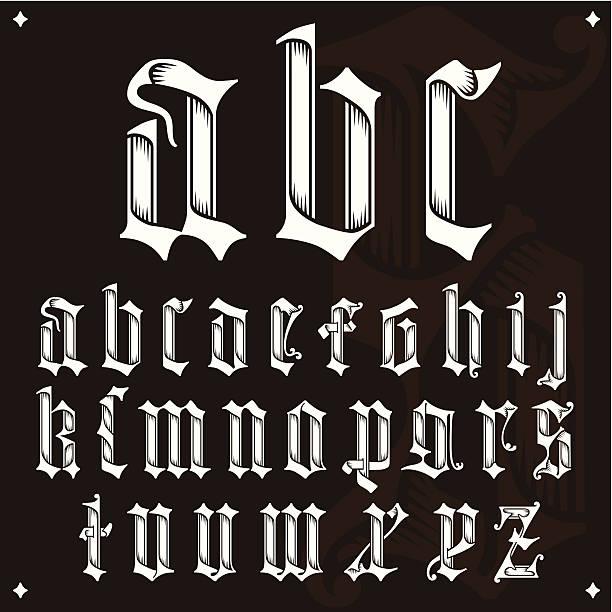 bildbanksillustrationer, clip art samt tecknat material och ikoner med gothic alphabet - gotisk stil
