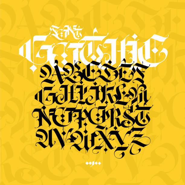 Gothic alphabet. Vector. Modern gothic. Black calligraphic letters on a yellow background. All letters are separate. Medieval latin letters. Ancient Germanic style. Drawn with marker. Gothic alphabet. Vector. Modern gothic. Black calligraphic letters on a yellow background. All letters are separate. Medieval latin letters. Ancient Germanic style. Drawn with marker. goth stock illustrations