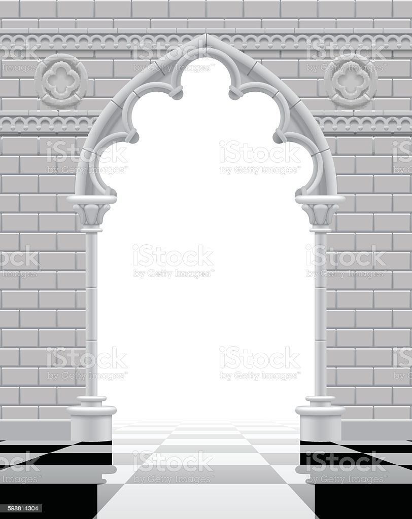 Gothic Arch And Wall In Black White Colors Royalty Free