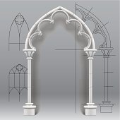 Vector image of the gothic arch against a paper background with architectural draft. EPS10. Contains transparent objects used for shadows effects. Zip-file includes: AI (v.10), JPEG (5000x5000) with the Clipping Path