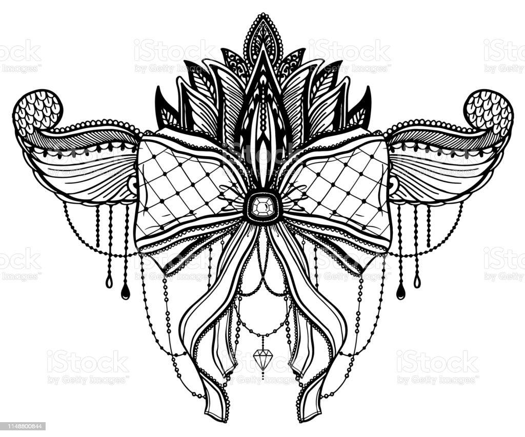 Noeud Gothique Et Motif De Tatouage Fleur De Lotus Graphique Noir De Couleur Dans Le Fond Blanc Vecteurs Libres De Droits Et Plus Dimages