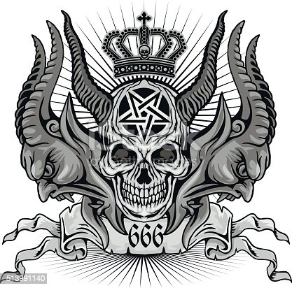 Gothic coat of arms with skull, vintage design t-shirts