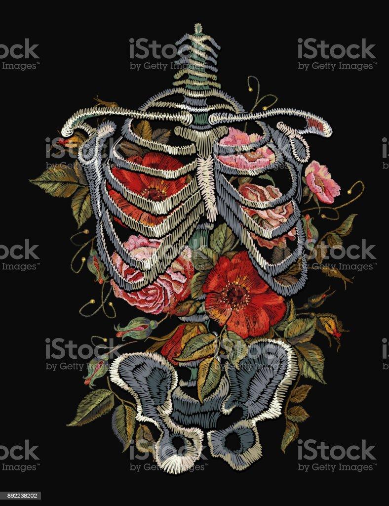 Ilustración de Costillas Esqueleto Gótico Bordado Y Flores Ropa De ...