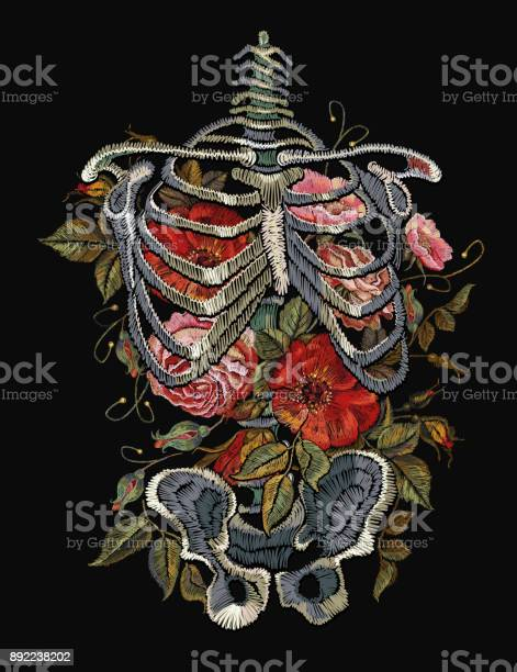 Gothic embroidery skeleton ribs and flowers fashionable clothes vector id892238202?b=1&k=6&m=892238202&s=612x612&h=t6f3dv3xnp7pwq7i 3l capcpog67lxwgba rmx8qow=