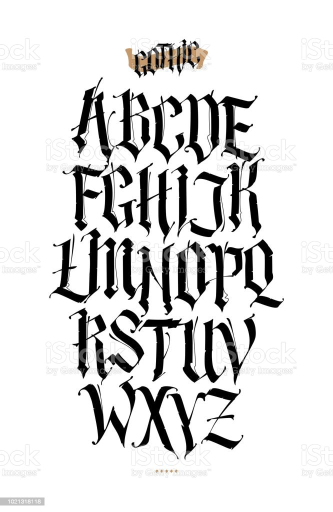 Ilustración De Gótico Alfabeto Inglés Conjunto De Vectores