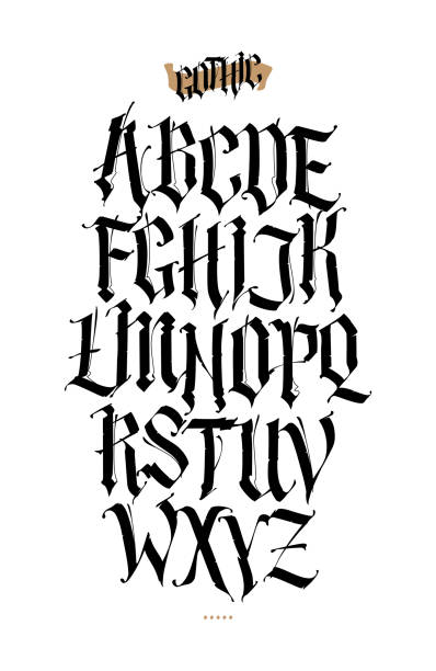 Gothic, English alphabet. Vector set. Font for tattoo, personal and commercial purposes. Elements isolated on white background. Calligraphy and lettering. Medieval Latin letters. Gothic, English alphabet. Vector set. Font for tattoo, personal and commercial purposes. Elements isolated on white background. Calligraphy and lettering. Medieval Latin letters. Anglo American stock illustrations