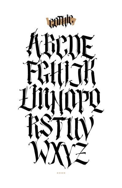 ゴシック、英語のアルファベット。ベクトルを設定します。タトゥー、個人的な商業目的のフォントです。白い背景で隔離の要素。書道・ レタリング。中世ラテン語の手紙。 - タトゥーのフォント点のイラスト素材/クリップアート素材/マンガ素材/アイコン素材