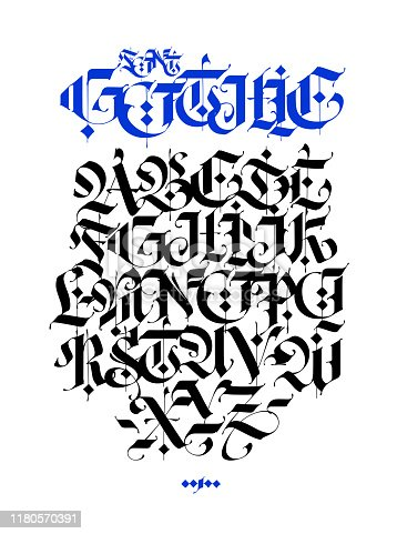 istock Gothic, English alphabet. Vector set. Font for tattoo, personal and commercial purposes. Elements isolated on white background. Calligraphy and lettering. Medieval Latin letters. 1180570391