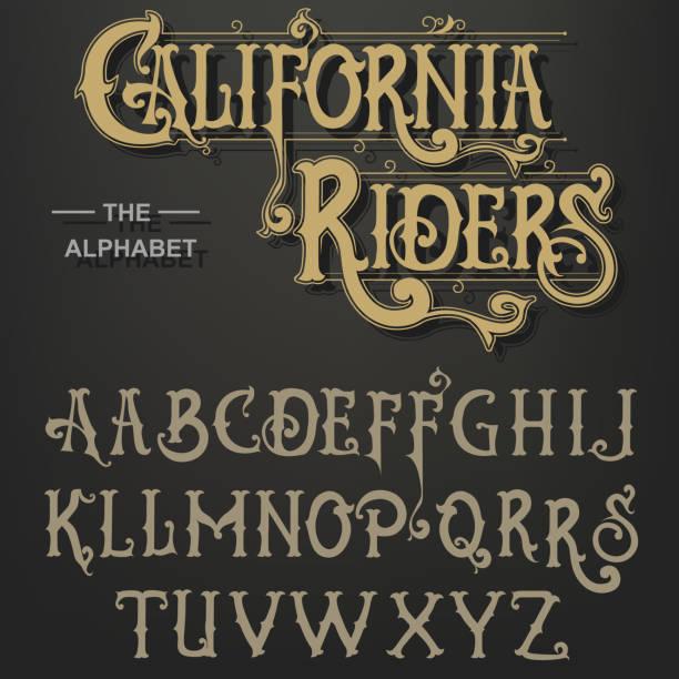 Gothic font, Original Typeface, handmade medieval script, Capital calligraphic letters. Vector vector art illustration