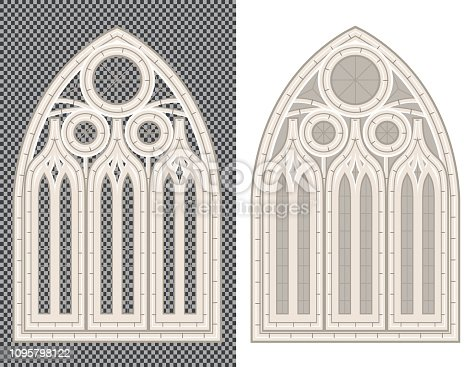 Gothic Medieval Stone Window on White and Transparent Background. Vector Illustration.