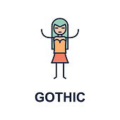 gothic musician icon. Element of music style icon for mobile concept and web apps. Colored gothic music style icon can be used for web and mobile