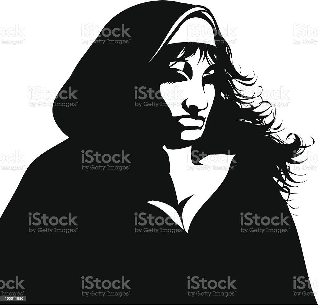 Gothic nun vector art illustration