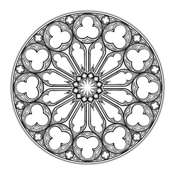 Gothic rose window. Popular architectural motiff in Medieval european art Gothic rose window. Popular architectural motiff in Medieval european art. Element for designing Coats of arms, medieval style illustrations. Black and white. EPS 10 vector illustration church stock illustrations