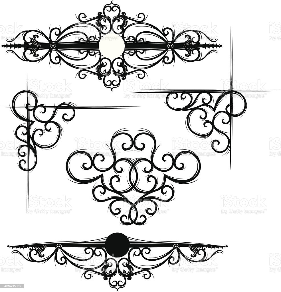 Gothic Scroll And Corner Designs Royalty Free Stock Vector Art