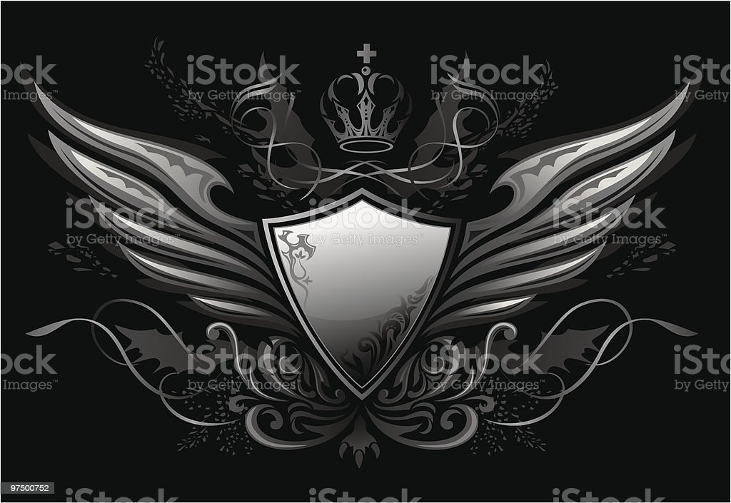 Gothic Shield Insignia 2 royalty-free gothic shield insignia 2 stock vector art & more images of animal wing