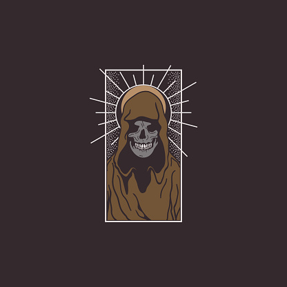 Gothic Skull Saint T-shirt Design Illustration