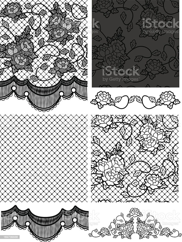 Gothic Style Lace Vector Floral Seamless Patterns Stock Vector Art ...