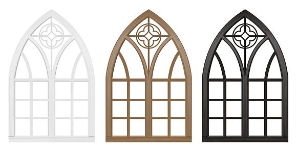 Gothic window of wood set