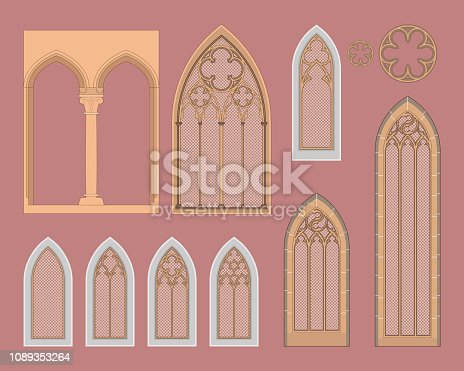 Medieval windows with a different decoration.