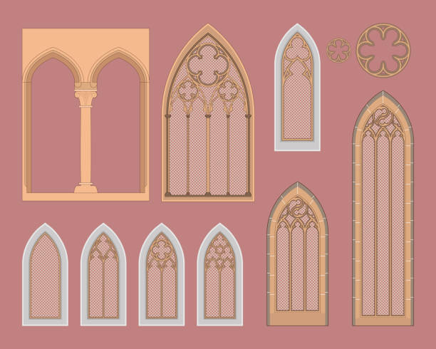 Gothic windows in central Europe Medieval windows with a different decoration. cusp stock illustrations