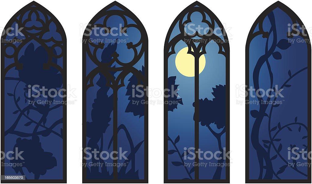Gothic Windows vector art illustration