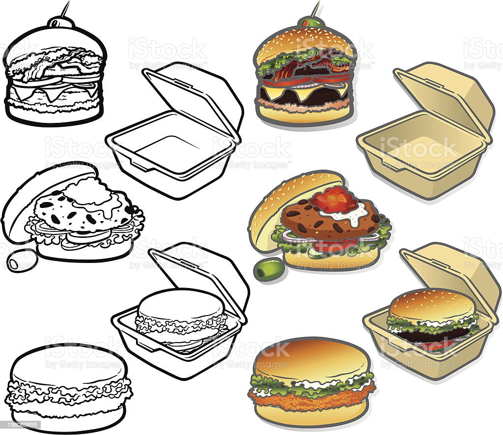 Gourmet Burger Icons vector art illustration
