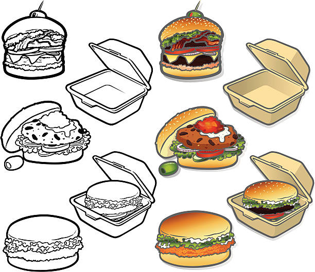 gourmet burger icons - junk food stock illustrations, clip art, cartoons, & icons