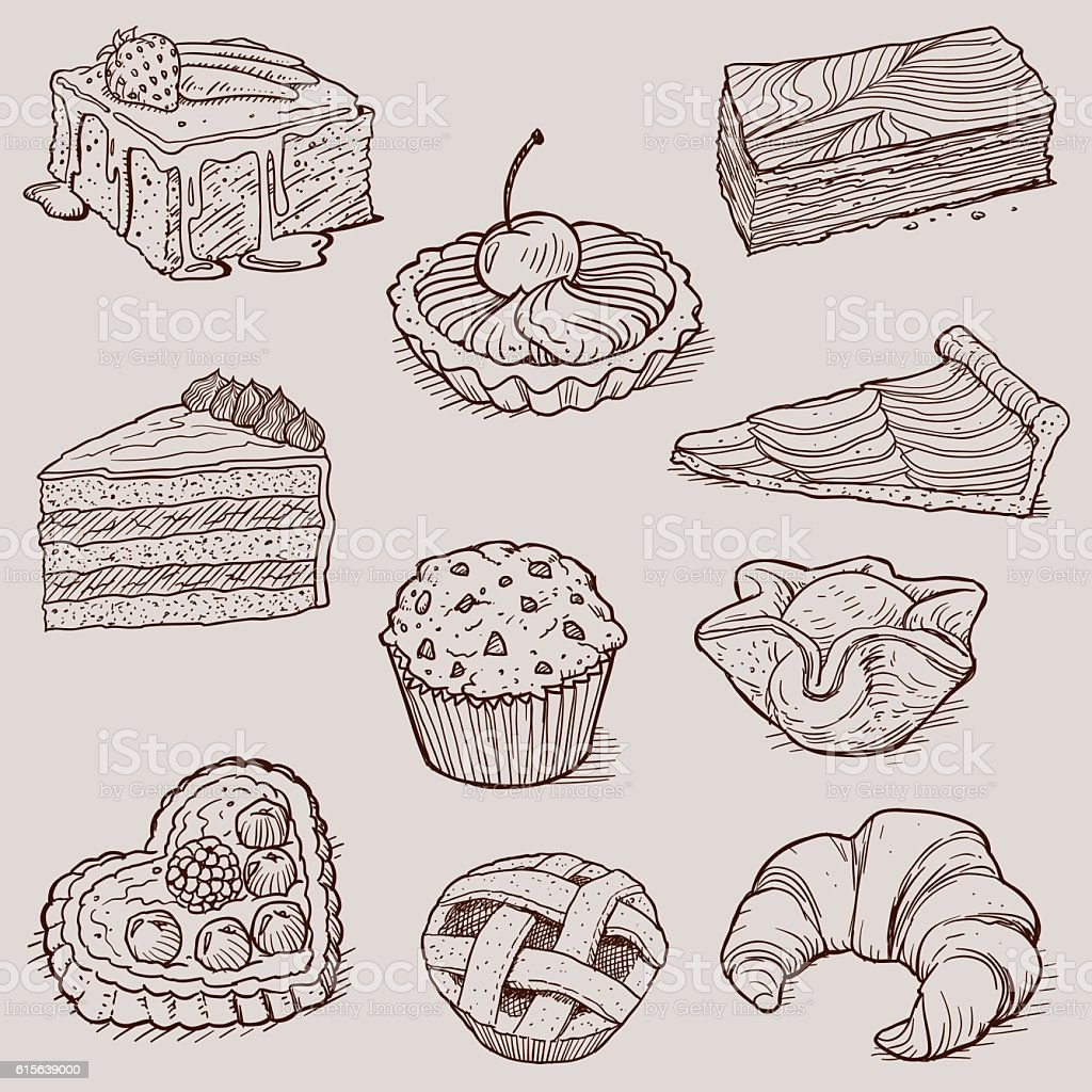 Gourmet Desserts and Bakery Collection - Royalty-free Almoço arte vetorial