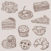 Vector illustrations doodles collection about Gourmet Desserts and Bakery