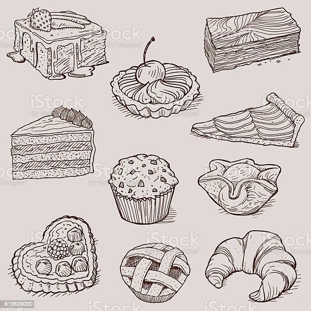 Gourmet Desserts And Bakery Collection - Arte vetorial de stock e mais imagens de Almoço