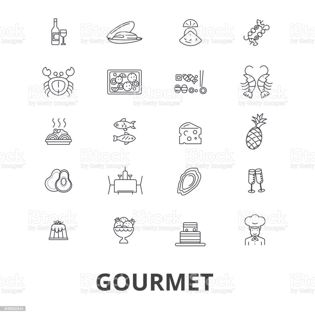 Gourmet, food, chef, restaurant, dinner, wine, cooking, cuisine, kitchen line icons. Editable strokes. Flat design vector illustration symbol concept. Linear isolated signs vector art illustration