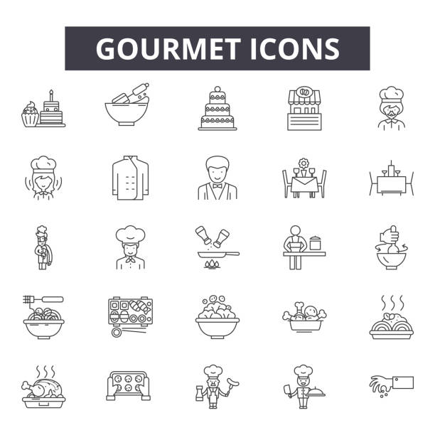 gourmet line icons for web and mobile design. editable stroke signs. gourmet  outline concept illustrations - delis stock illustrations