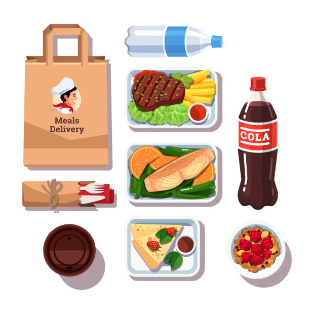 illustrazioni stock, clip art, cartoni animati e icone di tendenza di gourmet restaurant prepped meals in delivery containers. day healthy food and drinks. flat style vector - bottle soft drink