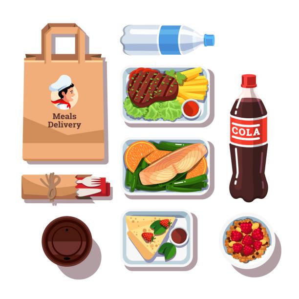 gourmet-restaurant vorbereitete mahlzeiten in lieferung behältern. tag gesund essen und trinken. flache vektor - lachskuchen stock-grafiken, -clipart, -cartoons und -symbole