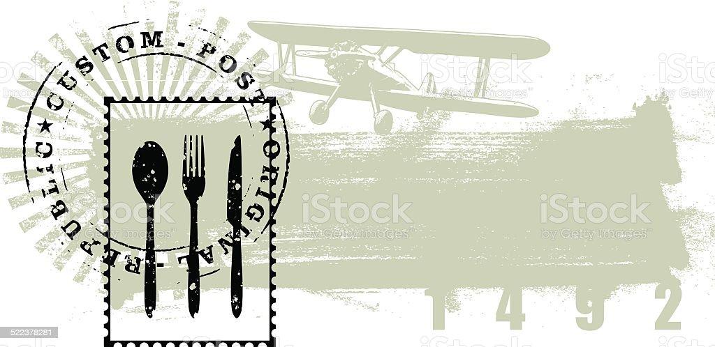 gourmet stamp with grunge background vector art illustration
