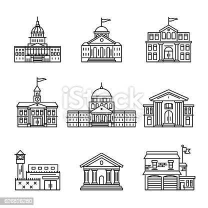 Government and education buildings set. Thin line art icons. Linear style illustrations isolated on white.